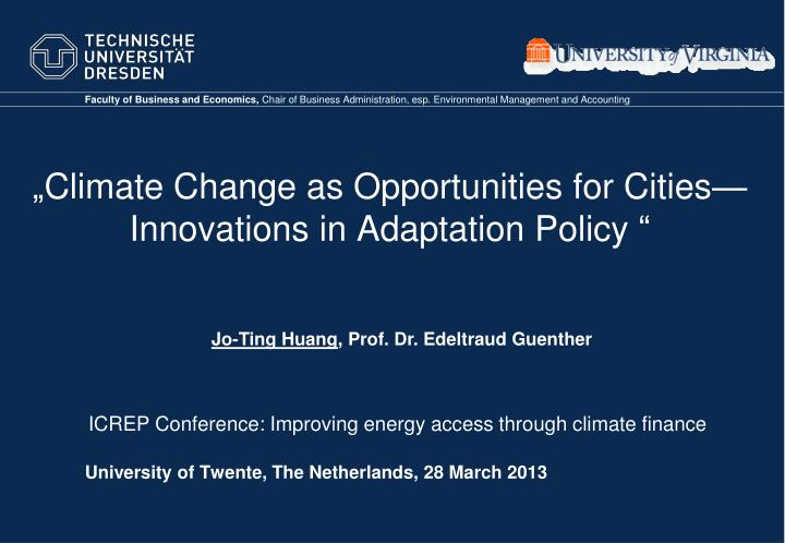 climate change as opportunities for cities innovations in adaptation policy n.