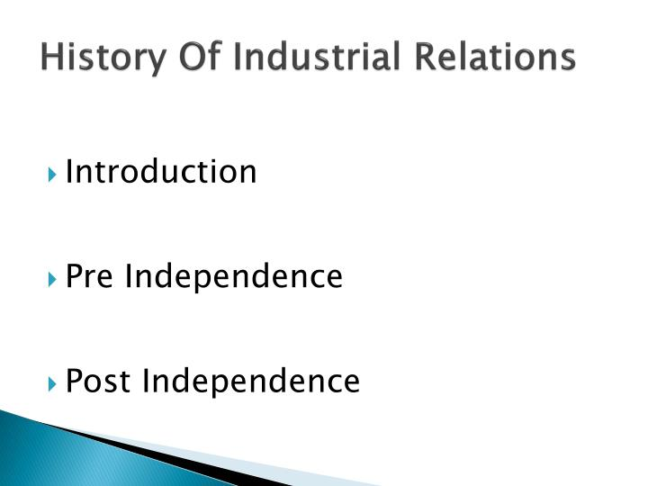 history of industrial relations n.