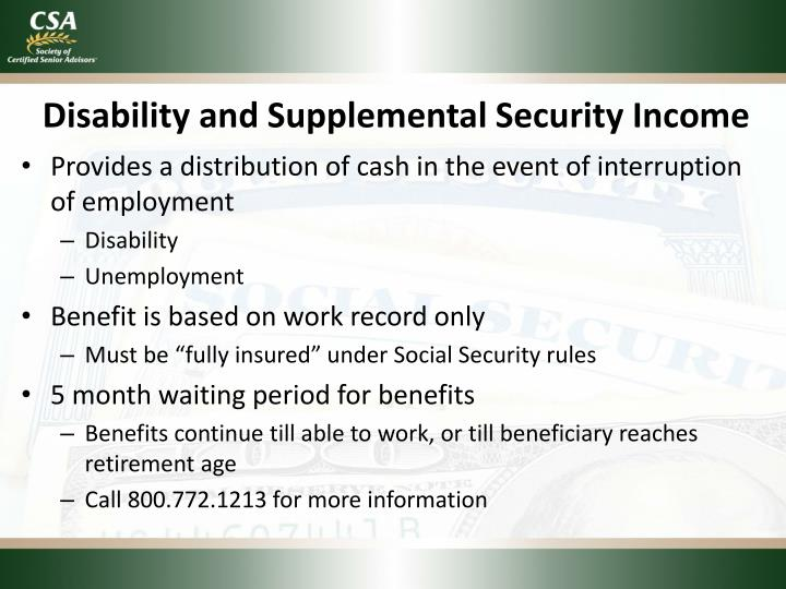 Disability and Supplemental Security Income