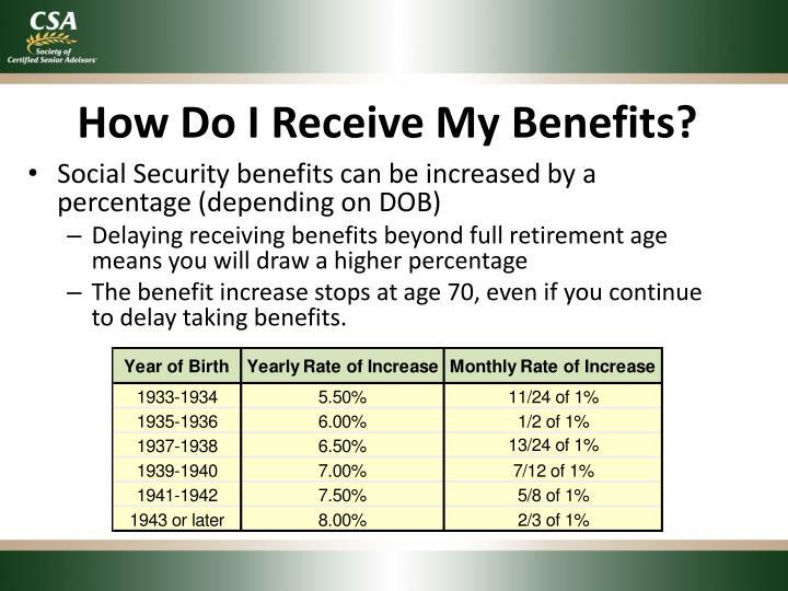 How Do I Receive My Benefits?