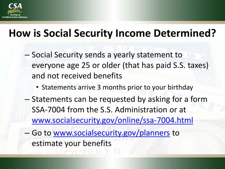 How is Social Security Income Determined?