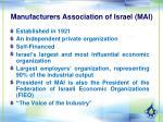 manufacturers association of israel mai