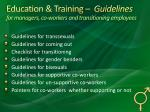 education training guidelines for managers co workers and transitioning employees