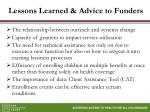 lessons learned advice to funders