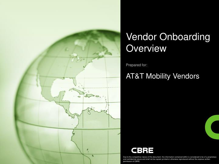 vendor onboarding overview prepared for at t mobility vendors n.