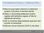 the settlement process settlement risk