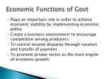 economic functions of govt