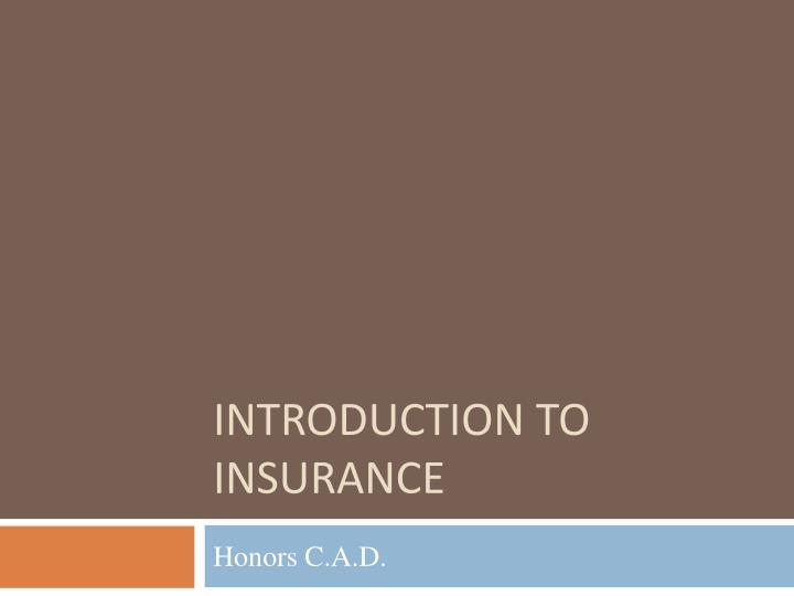 introduction to insurance n.