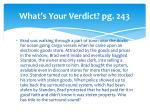 what s your verdict pg 243