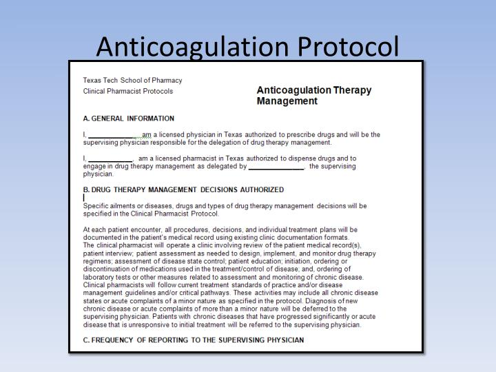 Anticoagulation Protocol