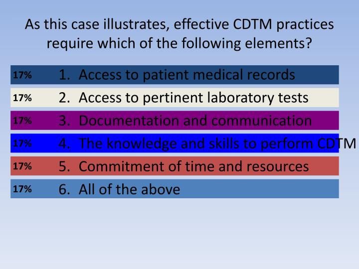 As this case illustrates, effective CDTM practices require which of the following elements?