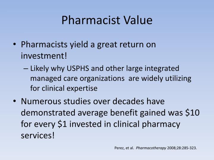 Pharmacist Value