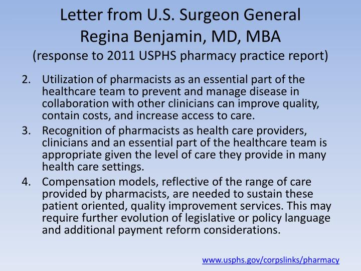Letter from U.S. Surgeon General
