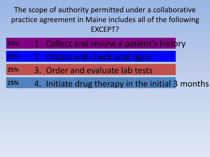 The scope of authority permitted under a collaborative practice agreement in Maine includes all of the following EXCEPT?