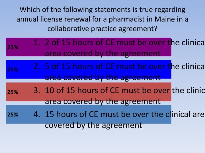 Which of the following statements is true regarding annual license renewal for a pharmacist in Maine in a collaborative practice agreement?
