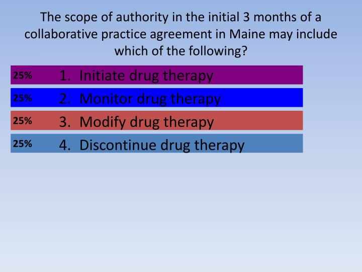 The scope of authority in the initial 3 months of a collaborative practice agreement in Maine may include which of the following?