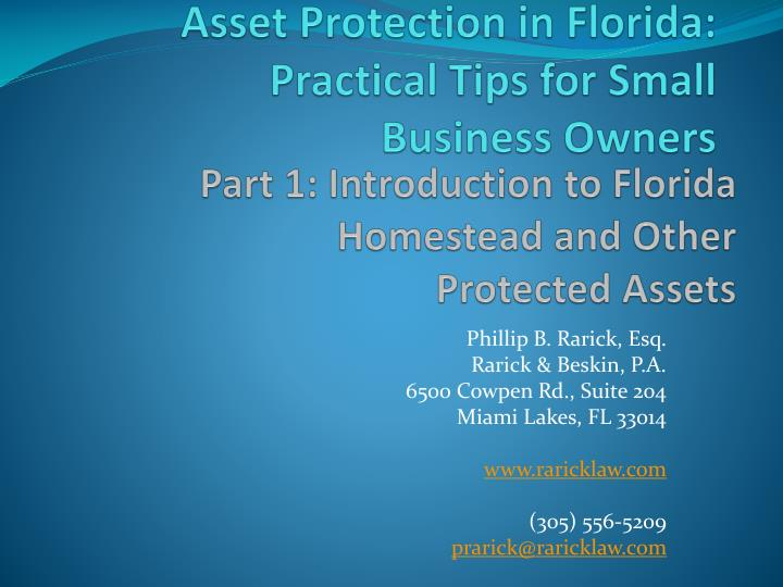 asset protection in florida practical tips for small business owners n.