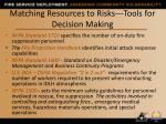 matching resources to risks tools for decision making