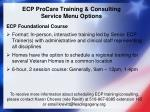 ecp procare training consulting service menu options
