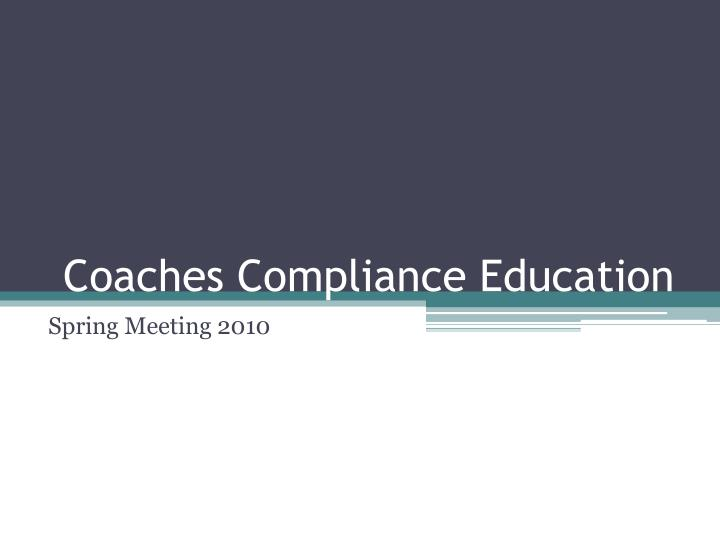 coaches compliance education n.