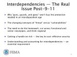 interdependencies the real issue post 9 11
