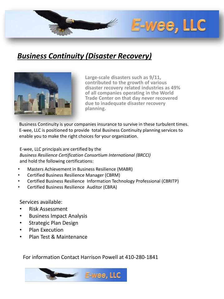 business continuity disaster recovery n.