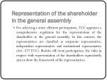 representation of the shareholder in the general assembly