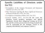 specific liabilities of directors under the tcc
