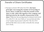 transfer of share certificates