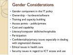 gender considerations