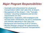 major program responsibilities