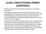 class ii institutional permit hospitals