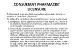 consultant pharmacist licensure