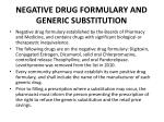 negative drug formulary and generic substitution