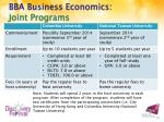 bba business economics joint programs