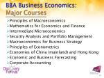 bba business economics major courses