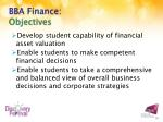 bba finance objectives
