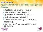 bba finance quantitative finance and risk management stream