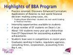highlights of bba program
