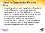 minor in quantitative finance aims