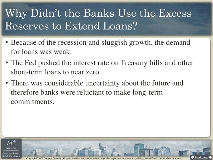 Why Didn't the Banks Use the Excess Reserves to Extend Loans?
