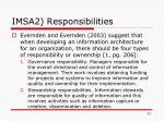 imsa2 responsibilities