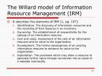 the willard model of information resource management irm