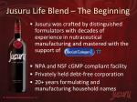 jusuru life blend the beginning