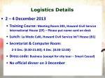 logistics details
