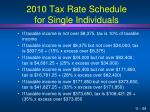 2010 tax rate schedule for single individuals