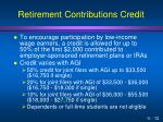 retirement contributions credit
