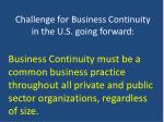 challenge for business continuity in the u s going forward