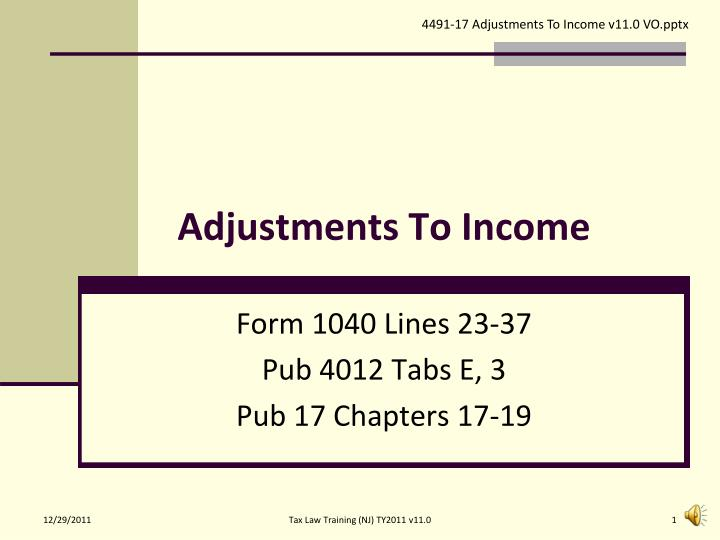 adjustments to income n.