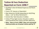 tuition fees deduction reported on form 1098 t